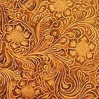 Brown Leather Look-Embossed Vintage Flowers by artonwear