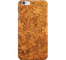 Brown Leather Look-Embossed Vintage Flowers iPhone Case/Skin