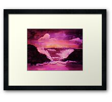 Crashing waves in  warm stormy sunset, watercolor Framed Print