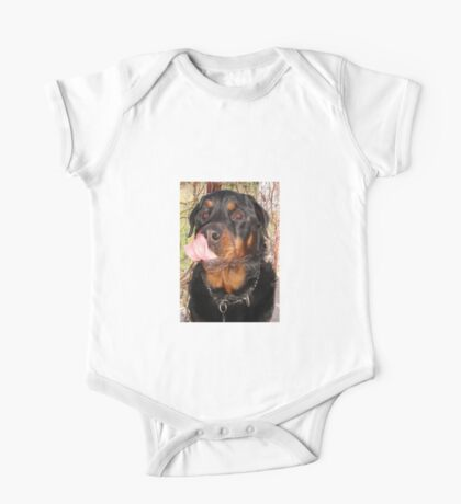 Large Male Rottweiler Licking His Lips One Piece - Short Sleeve