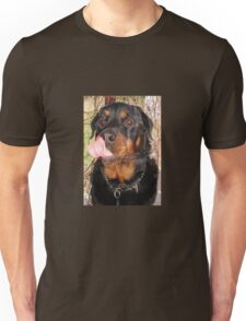 Large Male Rottweiler Licking His Lips Unisex T-Shirt