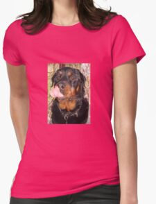 Large Male Rottweiler Licking His Lips Womens Fitted T-Shirt