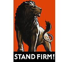 Stand Firm Lion -- WW2 Propaganda Photographic Print