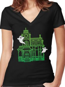 Haunted Victorian House Women's Fitted V-Neck T-Shirt