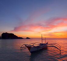 fishing boat at sunset by supergold
