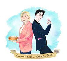 "Mel & Sue. ""On your mark, Get Set, BAKE!"" by sarcochrane"