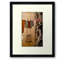 Hanging pale clothing Framed Print