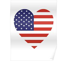 American Flag, USA, Heart, Stars & Stripes, Pure & Simple, Americana, America Poster