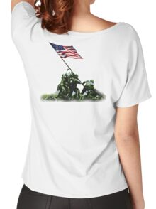 American War Flag, USA, Raising the Colours, Iwo Jima, America, Americana, WW2, WWII Women's Relaxed Fit T-Shirt