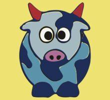 ღ°㋡Cute Brindled Cow with Red Horns Clothing & Stickers㋡ღ° Kids Tee