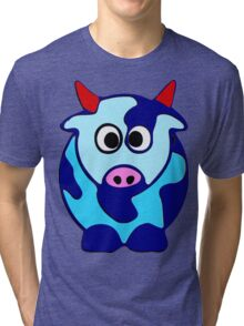 ღ°㋡Cute Brindled Cow with Red Horns Clothing & Stickers㋡ღ° Tri-blend T-Shirt