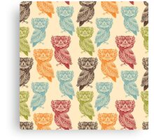 Cute Colorful Tribal Aztec Owl Pattern Canvas Print