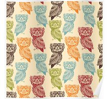 Cute Colorful Tribal Aztec Owl Pattern Poster