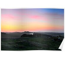 Sunrises over Hadrian's Wall and the sheep on Winshields Crag Poster