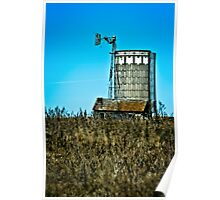 abandoned rural farm windmill Poster