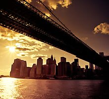 The New York City Skyline from under the Brooklyn Bridge by Vivienne Gucwa