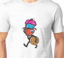 Male Ant Carrying Cupcake and Cookie Unisex T-Shirt