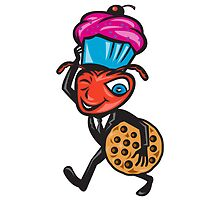 Male Ant Carrying Cupcake and Cookie by patrimonio