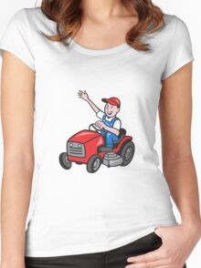 Farmer Driving Ride On Mower Tractor Women's Fitted Scoop T-Shirt