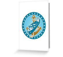 Container Ship Cargo Boat Anchor Greeting Card