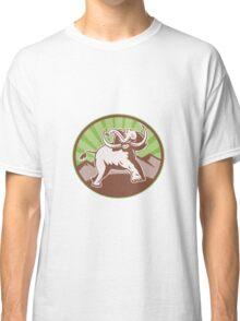 Elephant Giant Tusk Side Retro Circle Classic T-Shirt