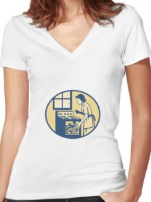 Housewife Baker Baking in Oven Stove Retro Women's Fitted V-Neck T-Shirt