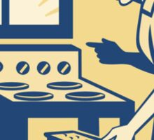 Housewife Baker Baking in Oven Stove Retro Sticker