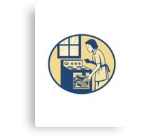Housewife Baker Baking in Oven Stove Retro Canvas Print