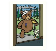 Teddy Bear And Bunny - Home From The War Art Print
