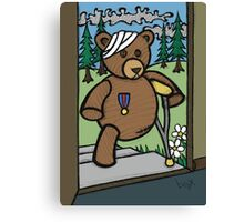 Teddy Bear And Bunny - Home From The War Canvas Print