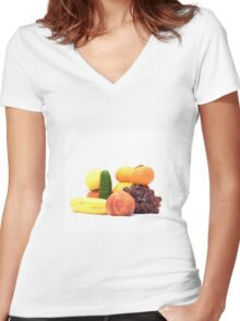 Fruit and Vegetables Ansamble  Women's Fitted V-Neck T-Shirt