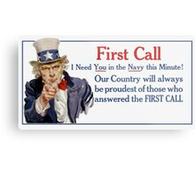 I Need You In The Navy -- Uncle Sam Metal Print