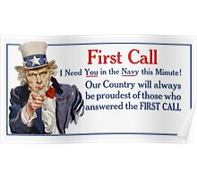 I Need You In The Navy -- Uncle Sam Poster