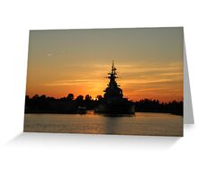 Battleship At Sunset Greeting Card