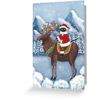 Merry Christmas Cat and Moose Greeting Card