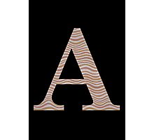 Letter A Metallic Look Stripes Silver Gold Copper Photographic Print
