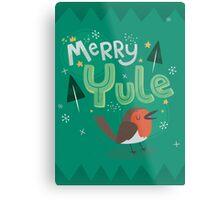 Merry Yule Robin Card Metal Print