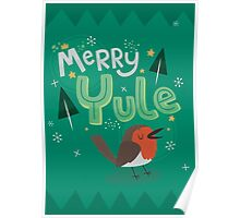 Merry Yule Robin Card Poster