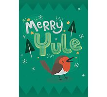 Merry Yule Robin Card Photographic Print