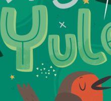 Merry Yule Robin Card Sticker