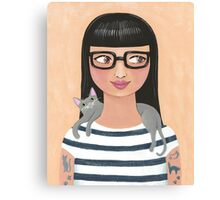 Modern Cat Lady Canvas Print