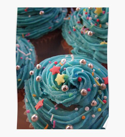 Cupcakes in Blue Poster