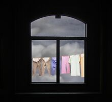 I See the Way, Washline through a South Facing Window by Wayne King