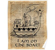 Boat Expedition,Ship Excursion,Music Crew,Vintage Ink Dictionary Art Poster