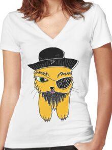 Black Beard Women's Fitted V-Neck T-Shirt