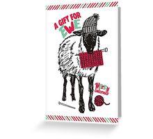 Sheep wool hat knitting needles yarn Christmas Greeting Card