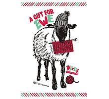 Sheep wool hat knitting needles yarn Christmas Photographic Print