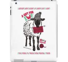 Sheep wool hat knitting needles yarn Christmas iPad Case/Skin