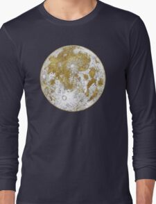 Golden Moon Pattern Long Sleeve T-Shirt