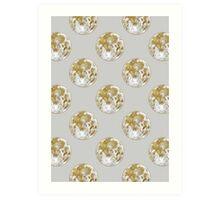 Golden Moon Pattern Art Print